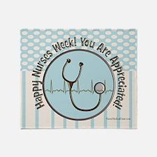 CP happy nurses week chocolate blue Throw Blanket