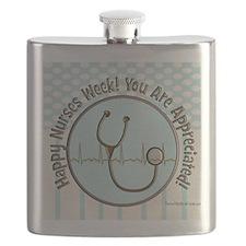 CP happy nurses week chocolate blue Flask
