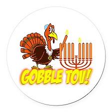 Gobble Tov Thanksgivukkah Turkey and Menorah Round
