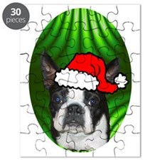 bostonterrierxmas-oval Puzzle