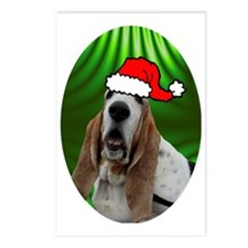 bassetxmas-oval Postcards (Package of 8)