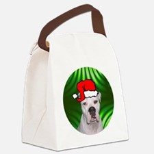 ambulldogxmas-round Canvas Lunch Bag