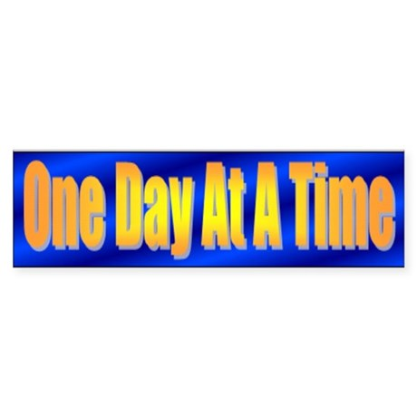 One Day At A Time Bumper Sticker Blue/Gold