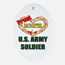 Proud Army Daughter Oval Ornament