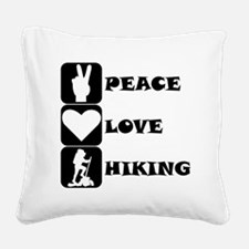 Peace Love Hiking Square Canvas Pillow