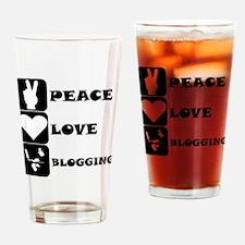 Peace Love Blogging Drinking Glass