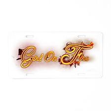 Girl_On_Fire Aluminum License Plate