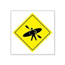 "Kayak Crossing - Whitewater Square Sticker 3"" x 3"""