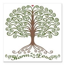 "harm-less-tree-T Square Car Magnet 3"" x 3"""