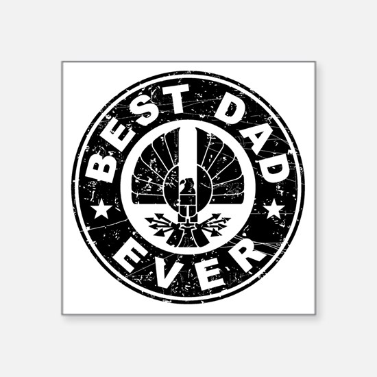 "Best Dad Ever Hawk Black D Square Sticker 3"" x 3"""