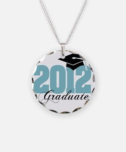 2012 graduate color aqua Necklace Circle Charm