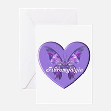 FIBRO BUTTERFLY HEART Greeting Cards