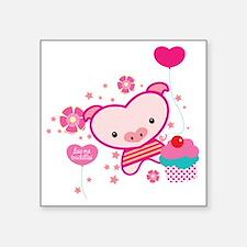 """Piquelle-pig-pink-T Square Sticker 3"""" x 3"""""""