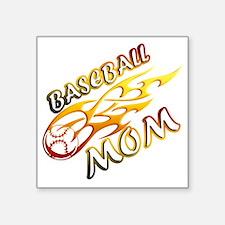 "Baseball Mom (flame) copy Square Sticker 3"" x 3"""
