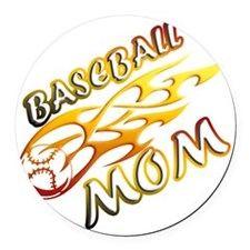 Baseball Mom (flame) copy Round Car Magnet