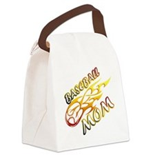 Baseball Mom (flame) copy Canvas Lunch Bag