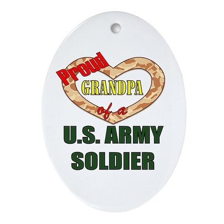Proud Army Grandpa Oval Ornament