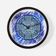 Celtic Art Cross Blue Wall Clock