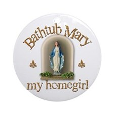 Bathtub Mary Ornament (Round)