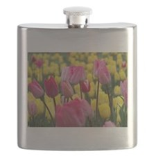 Pink and Yellow Tulips Flask