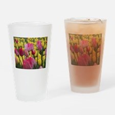 Pink and Yellow Tulips Drinking Glass