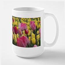 Pink and Yellow Tulips Mugs