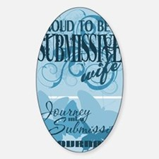 Submissive_wife_blue_full_bleed Sticker (Oval)