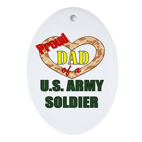 Proud Army Dad Oval Ornament
