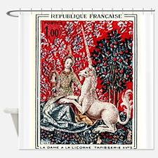 Vintage 1964 France Unicorn Tapestry Postage Stamp