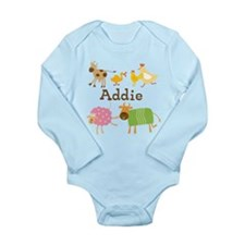 Farm Animals Custom Long Sleeve Infant Bodysuit