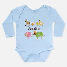 Farm Animals Custom Long Sleeve Infant Bodysuit