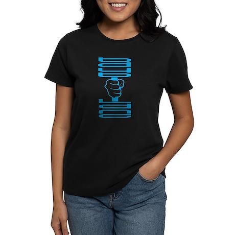 Womens Dumbell Black T-Shirt (blue)