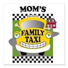 "familytaxiMOMK Square Car Magnet 3"" x 3"""