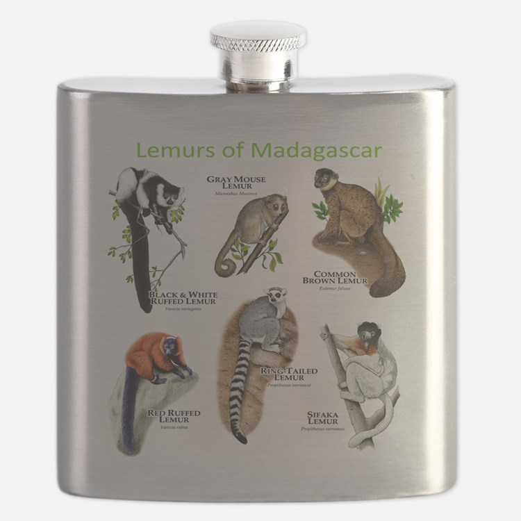 Lemurs of Madagascar Flask