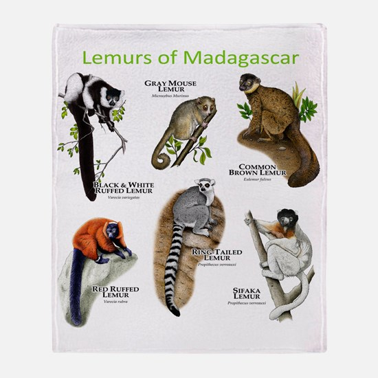 Lemurs of Madagascar Throw Blanket