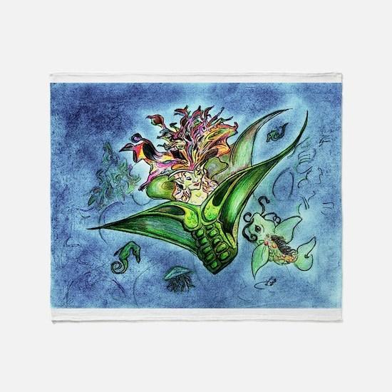Coral Mermaid Fantasy Art Throw Blanket