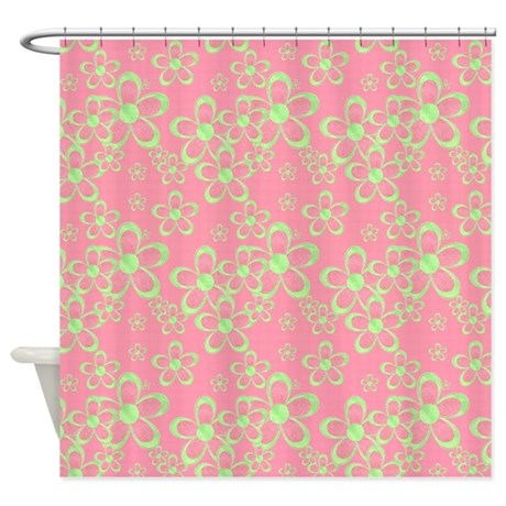 pink and green flowers shower curtain by gezipsupport. Black Bedroom Furniture Sets. Home Design Ideas
