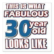 """30 yrs fabulous Square Car Magnet 3"""" x 3"""""""