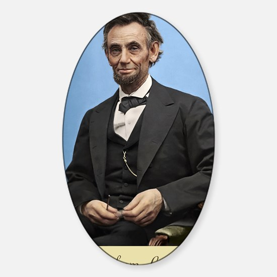 23X35 Abe Lincoln Color Print Sticker (Oval)