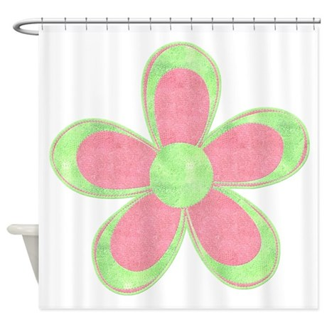 pink and green flowers shower curtain by gezipsupport