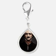 9X12 Edgar Allan Poe Print Silver Teardrop Charm