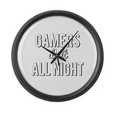 Gamers Do It All Night Large Wall Clock