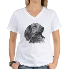 Long-Haired Dachshund Women's V-Neck T-Shirt
