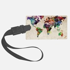 World Map Urban Watercolor 14x10 Large Luggage Tag