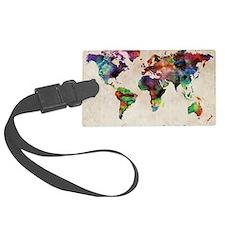 World Map Urban Watercolor 14x10 Luggage Tag