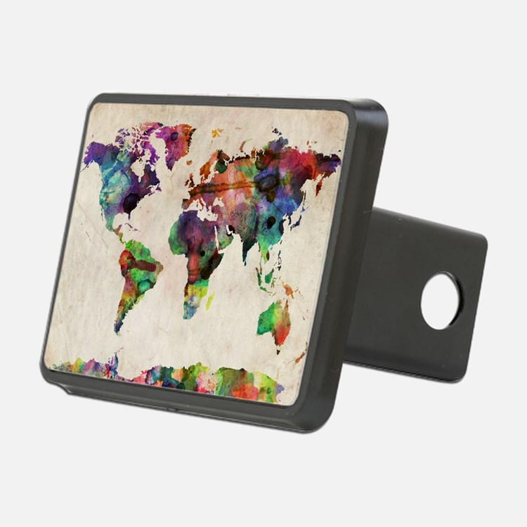 World Map Urban Watercolor Hitch Cover