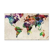 World Map Urban Watercolor 14 Rectangle Car Magnet