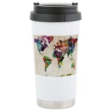 World Map Urban Watercolor 14x1 Travel Mug