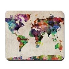 World Map Urban Watercolor 14x10 Mousepad
