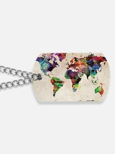 World Map Urban Watercolor 14x10 Dog Tags